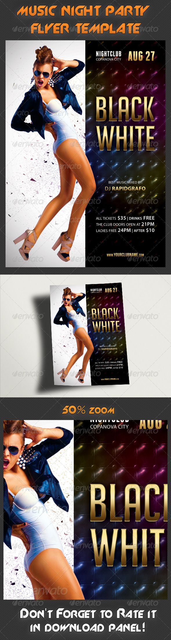 Black And White Flyer Template - Clubs & Parties Events