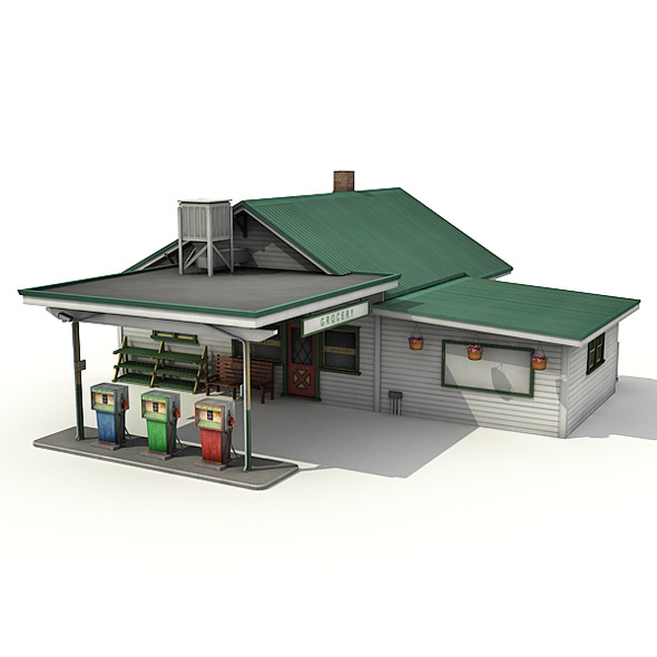 Gas Station With Grocery - 3DOcean Item for Sale