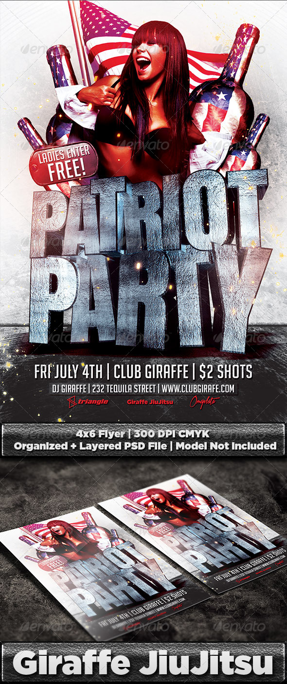 Patriot Party Flyer Template PSD - Holidays Events