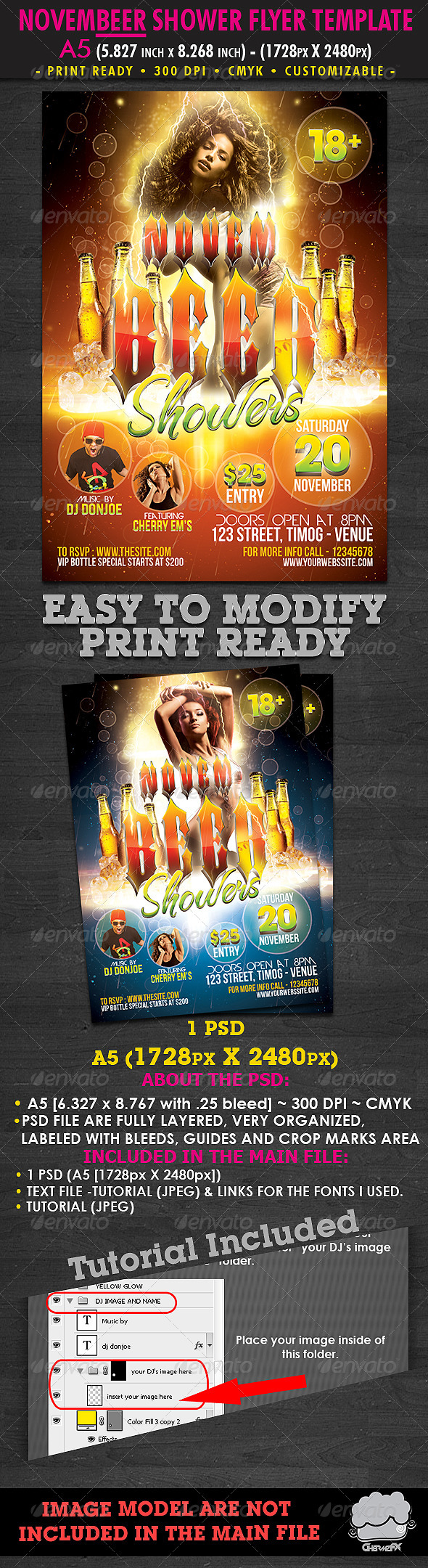 Novembeer Showers Flyer Template - Clubs & Parties Events