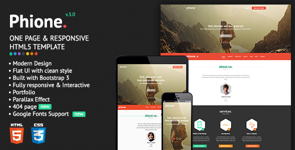 Phione – Onepage Parallax Responsive HTML Template