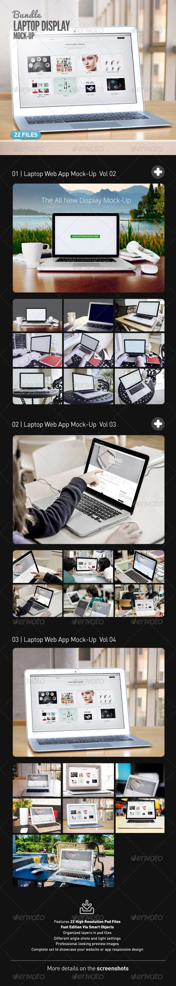 Laptop | Web App Mock-Up Bundle - Displays Product Mock-Ups