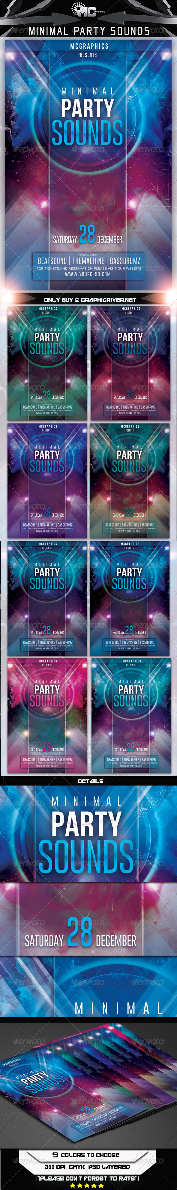 Minimal Party Sounds Flyer Template - Flyers Print Templates