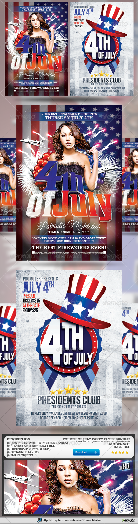 Fourth of July Party Flyer Bundle - Holidays Events