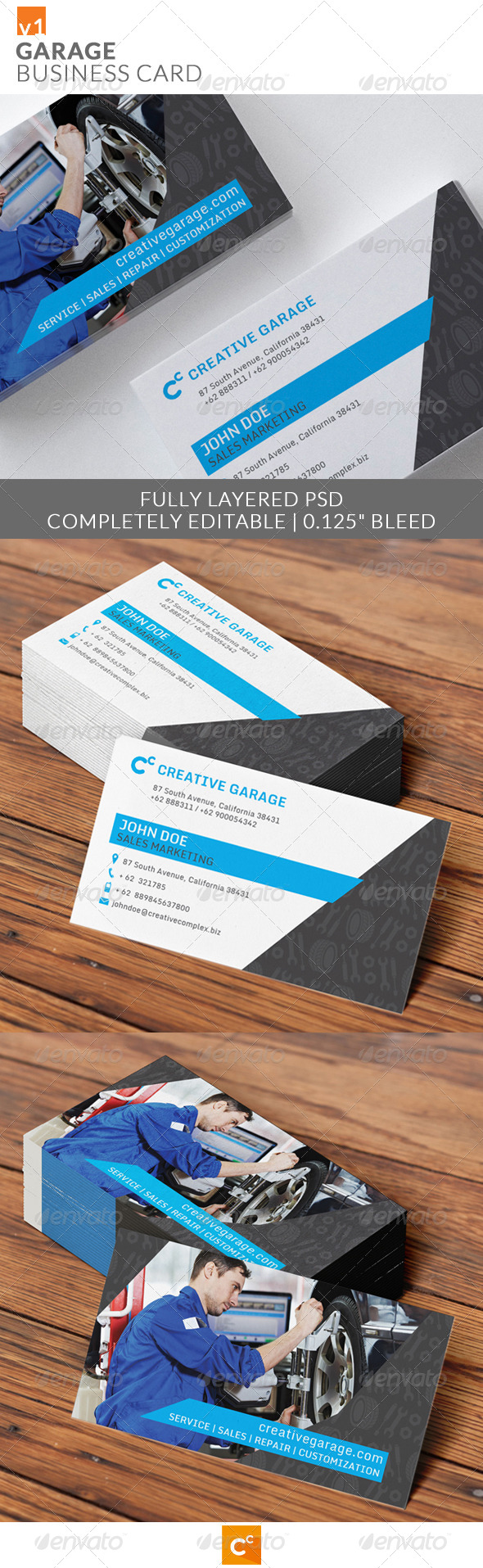Garage Business Card - Industry Specific Business Cards