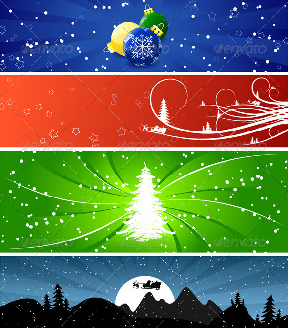 Winter Christmas banners - Backgrounds Decorative