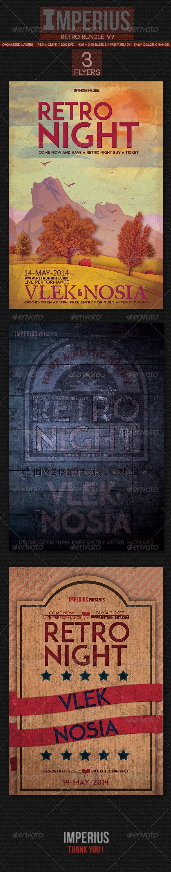 Retro Bundle V7 - Flyers Print Templates
