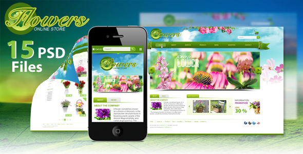 Flowers online store | PSD Template