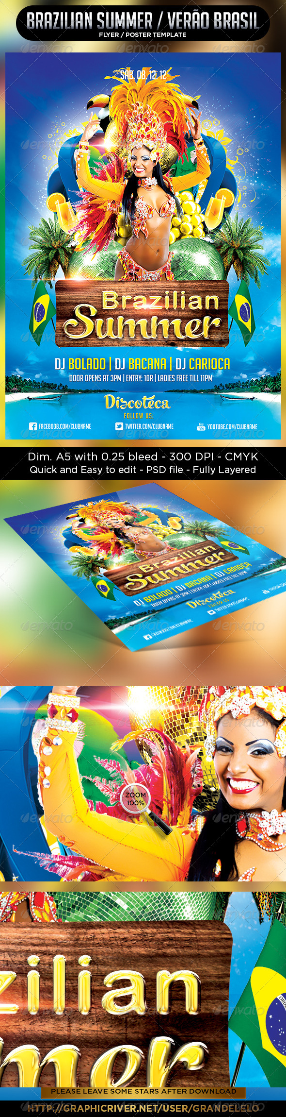 Brazilian Summer Flyer Template - Clubs & Parties Events