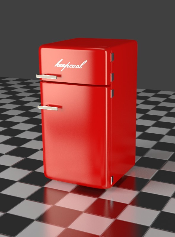 Fridge Freezer Combi red - 3DOcean Item for Sale