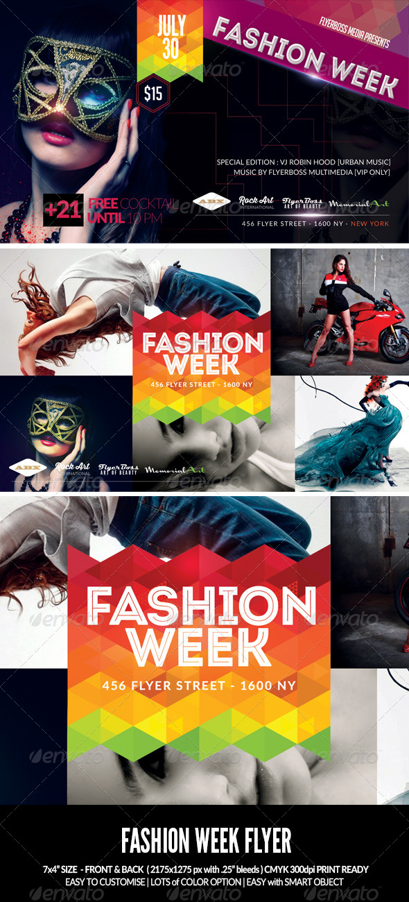 Fashion Week Flyer-Front & Back - Events Flyers