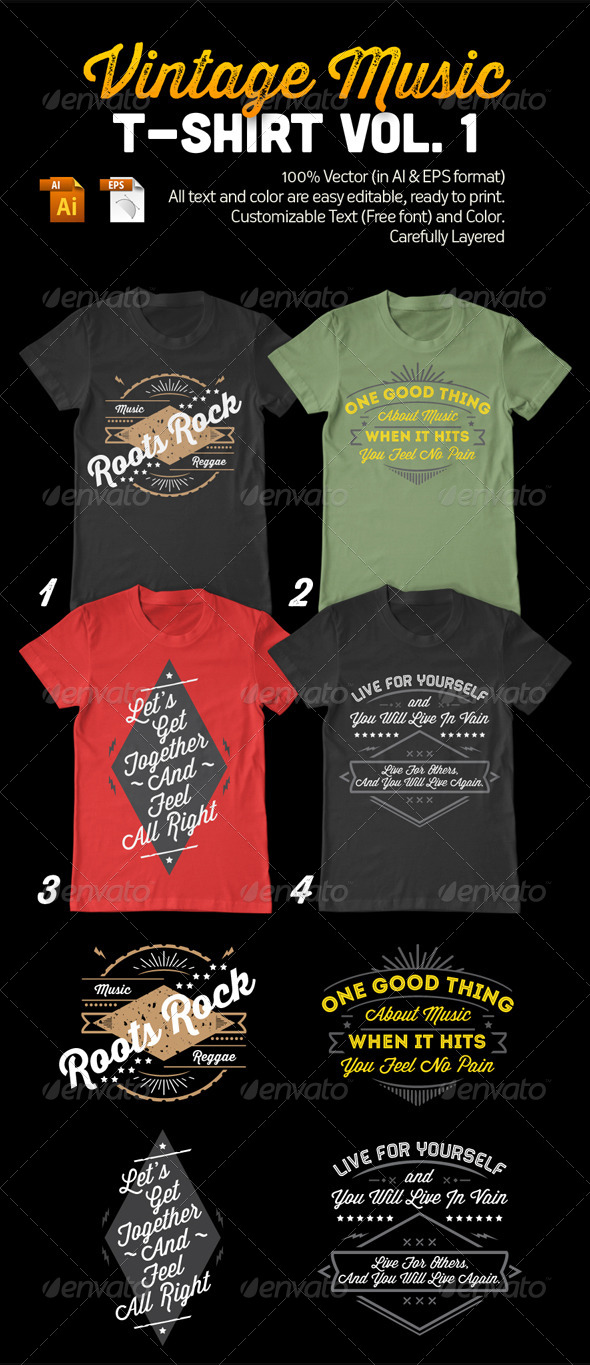 Vintage Music T-Shirt Vol. 1 - Designs T-Shirts