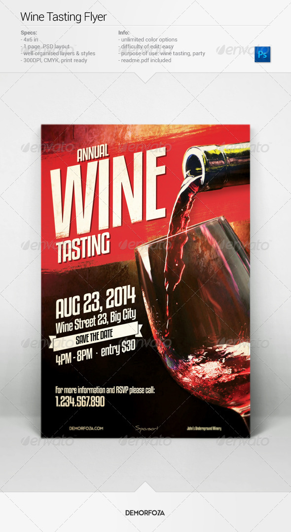 Wine Tasting Flyer By Demorfoza Graphicriver