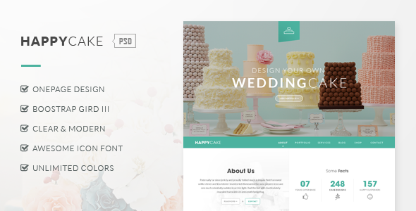HappyCake - Onepage Business PSD - Business Corporate