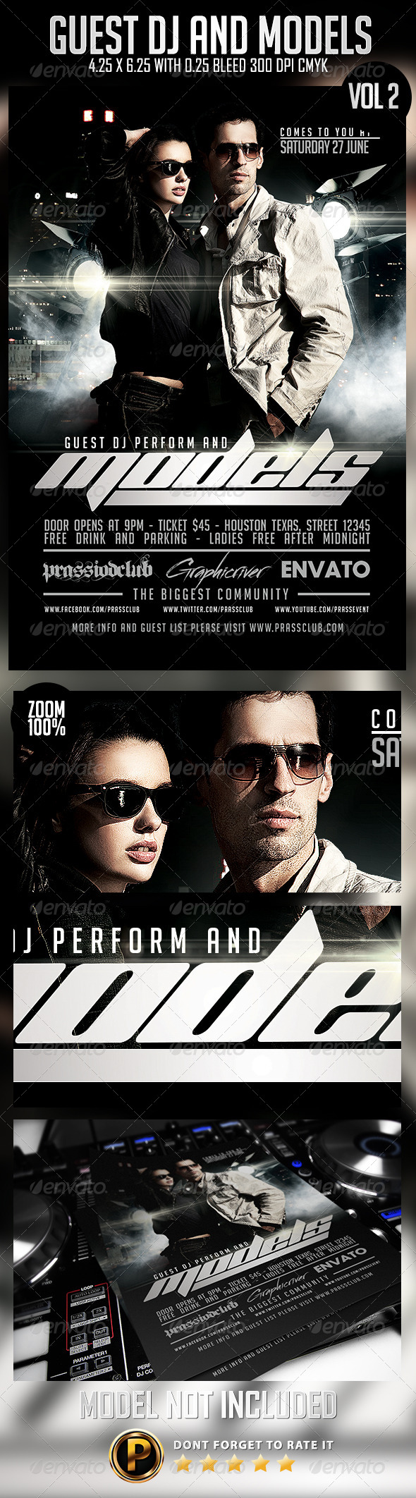 Guest DJ And Model Vol 2 Flyer Template - Clubs & Parties Events