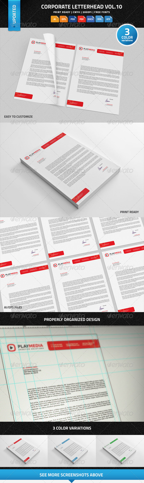 Corporate Letterhead Vol.10 with MS Word DOC/DOCX - Stationery Print Templates