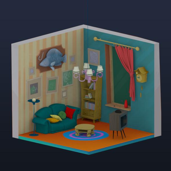 Cartoon interior - 3DOcean Item for Sale