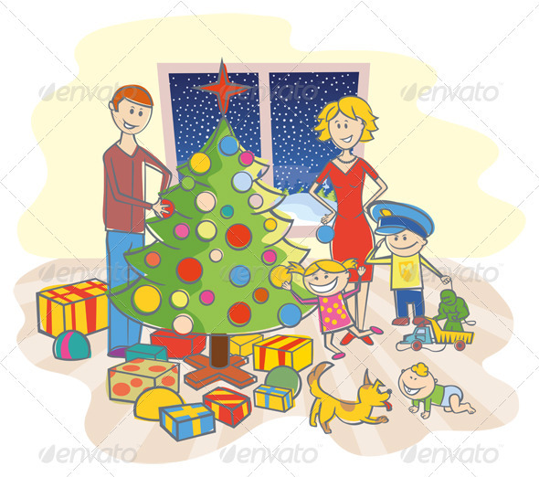 Happy Family Dressing Up The Christmas Tree - Characters Vectors