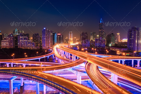modern city traffic at night - Stock Photo - Images