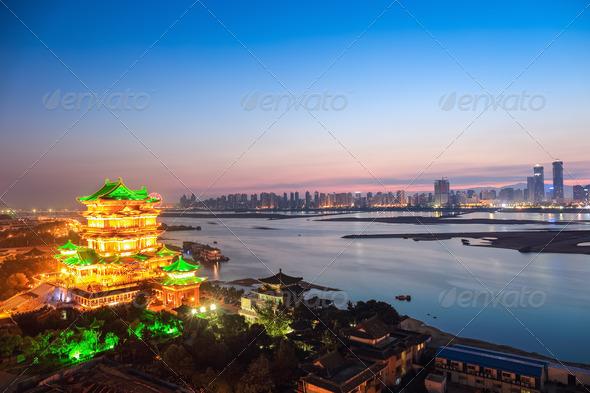 beautiful nanchang tengwang pavilion in nightfall - Stock Photo - Images