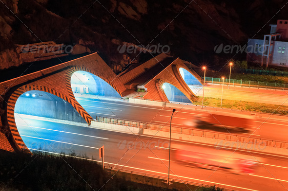 highway tunnel at night - Stock Photo - Images