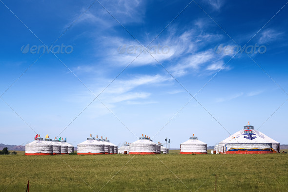 mongolian yurts on the prairie - Stock Photo - Images