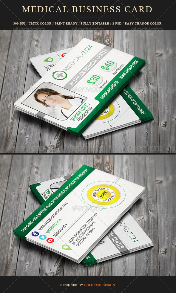 Business Card for Medical Center by colorfuldesign | GraphicRiver