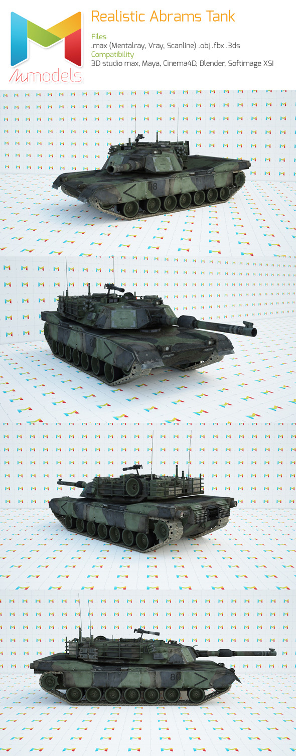 Realistic Abrams Tank - 3DOcean Item for Sale