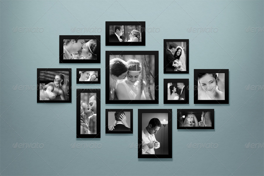 Photo Frames on Wall Mock-up by vasaki | GraphicRiver