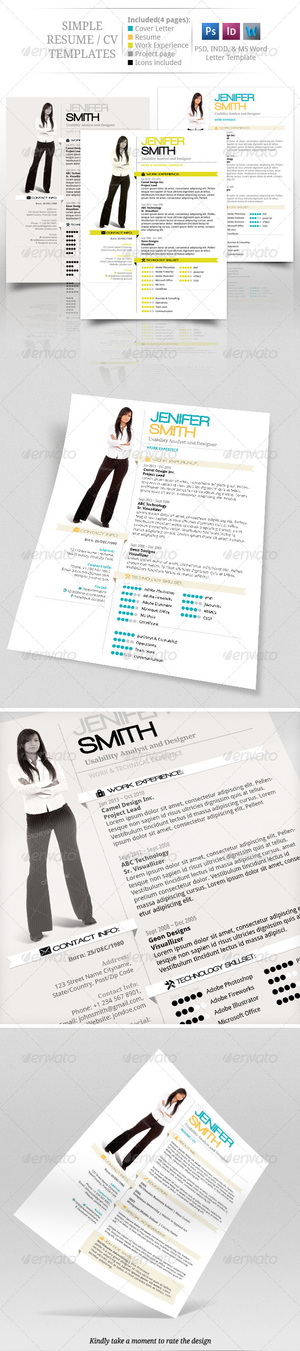 Simple CV Resume Set - Resumes Stationery