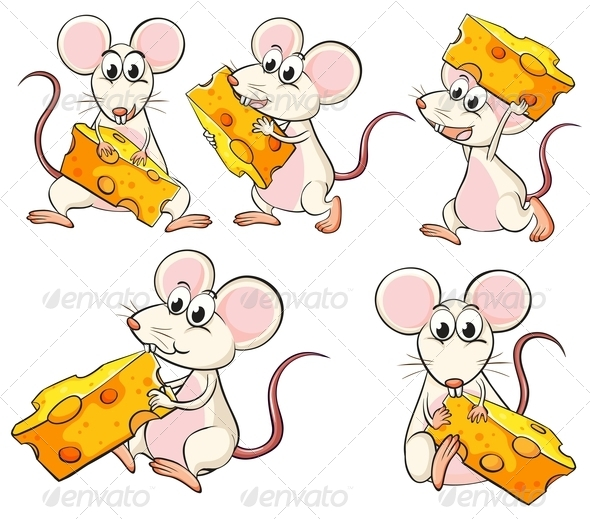 Group of Mice Carrying Slices of Cheese - Animals Characters