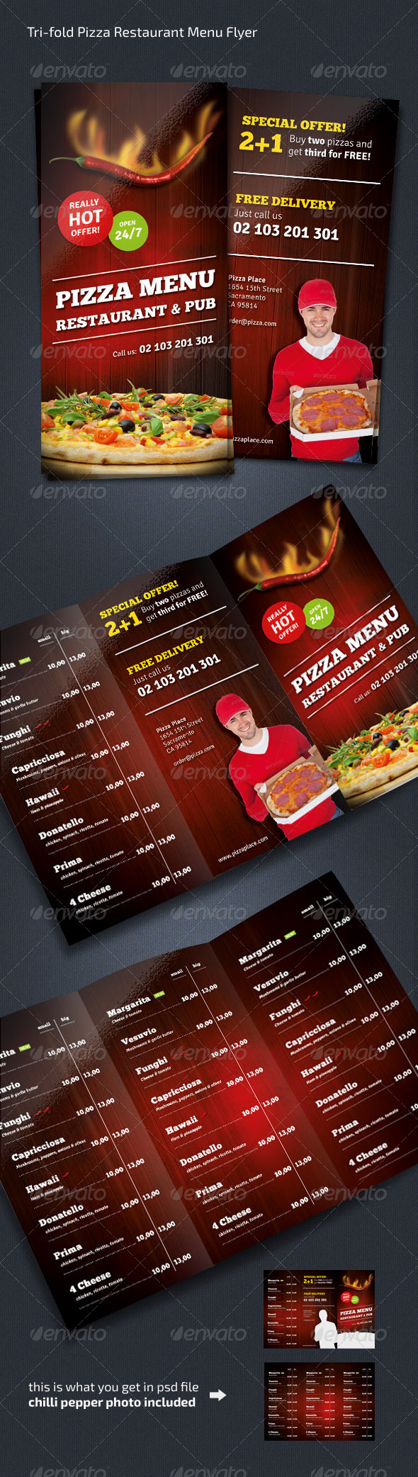 pizza sale flyer template - pizza restaurant menu flyer trifold by out00 graphicriver
