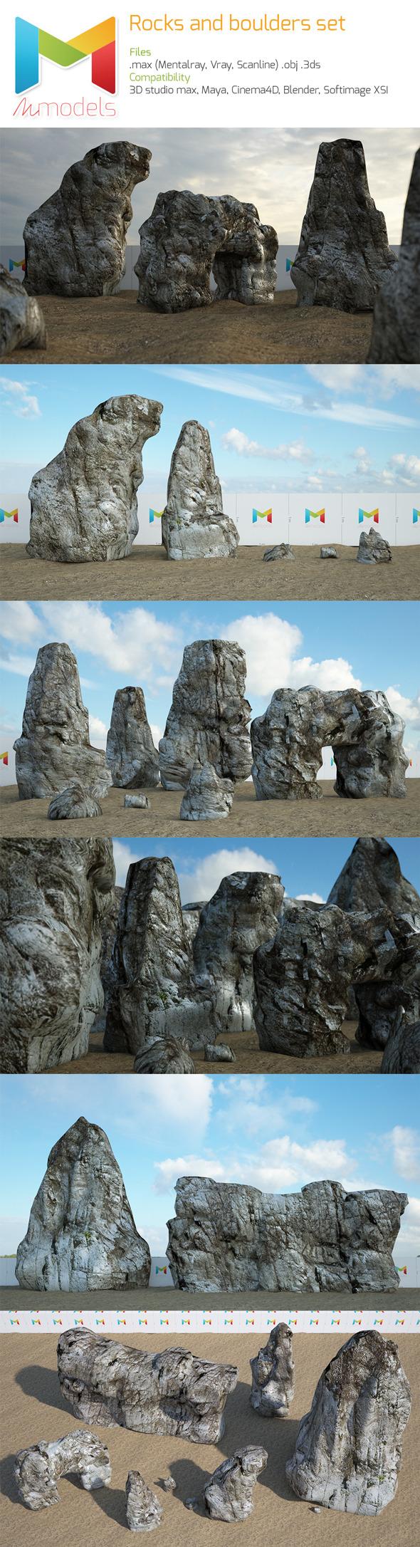 Rock and boulder set - 3DOcean Item for Sale