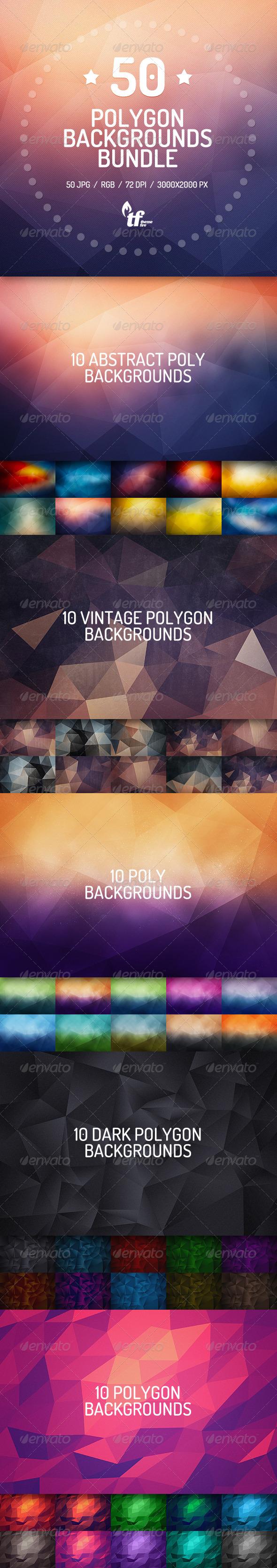 50 Polygon Backgrounds Bundle