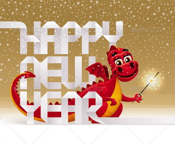 Red Dragon With a Sparkler And Greeting Sign - Characters Vectors