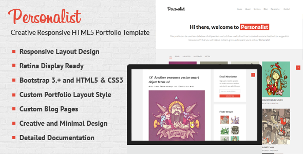 Wondrous Personalist - Creative Portfolio HTML5 Template