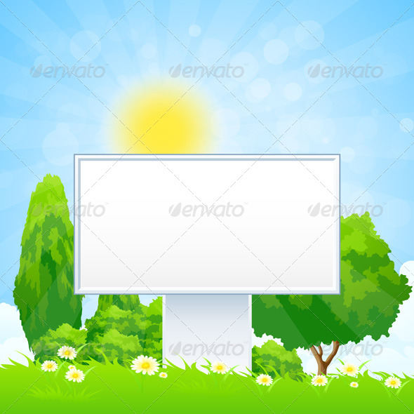 Empty Billboard in the Grass - Landscapes Nature