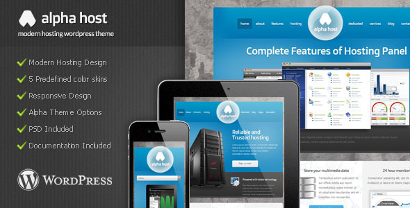 Alpha – Modern Hosting WordPress Theme