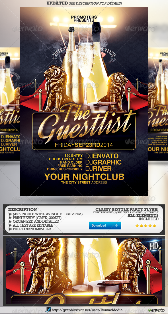 The Guestlist and Bottle Party Flyer - Clubs & Parties Events