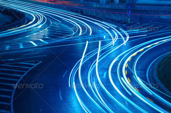 light trails on the urban road - Stock Photo - Images