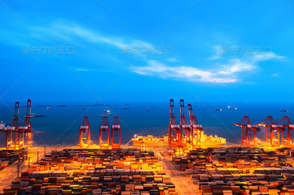 container terminal at nightfall - Stock Photo - Images