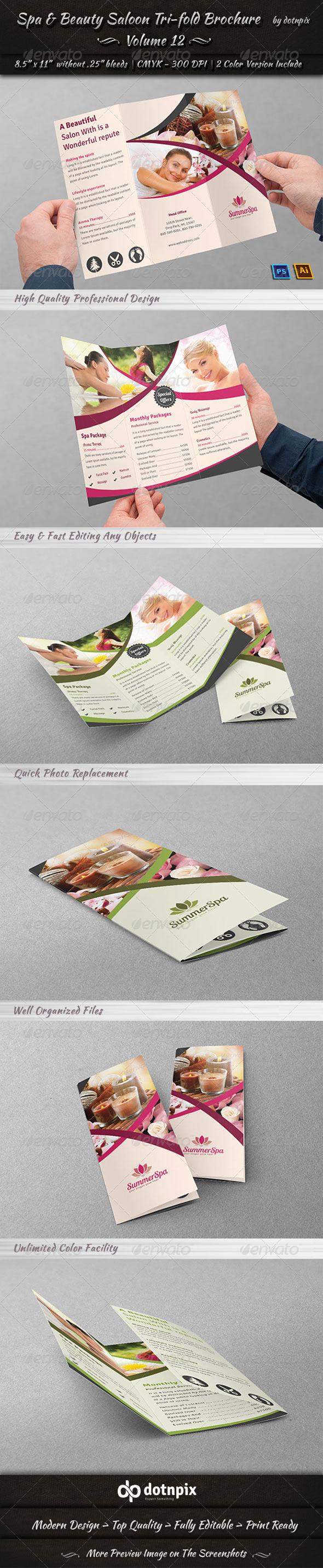Spa & Beauty Saloon Tri-fold Brochure | Volume 12 - Print Templates