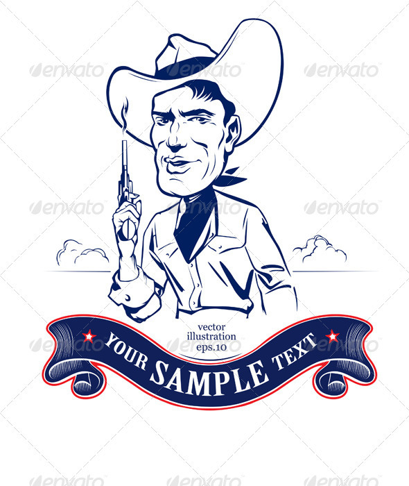Cartoon Cowboy Smile  - People Characters