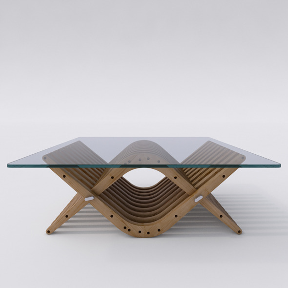 Wooden Low Table 31 BOOMERANG  - 3DOcean Item for Sale