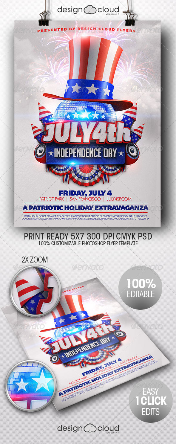 July 4th independence day flyer template by design cloud for 4th of july menu template
