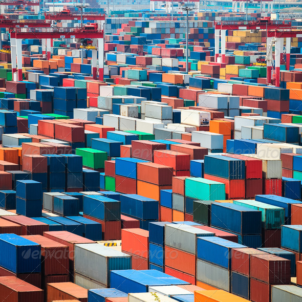 shipping containers in port - Stock Photo - Images