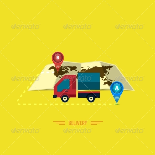 Delivery Service, Truck Symbol - Services Commercial / Shopping