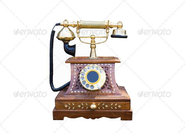 Vintage gold telephone - Stock Photo - Images