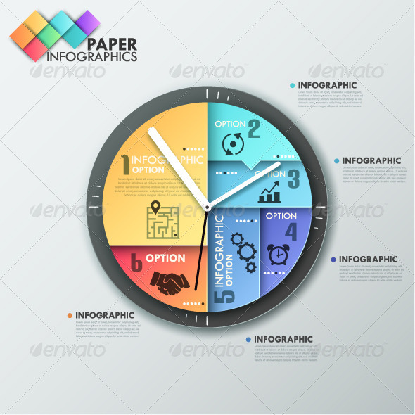 paper infographic template with clock by andrew kras graphicriver