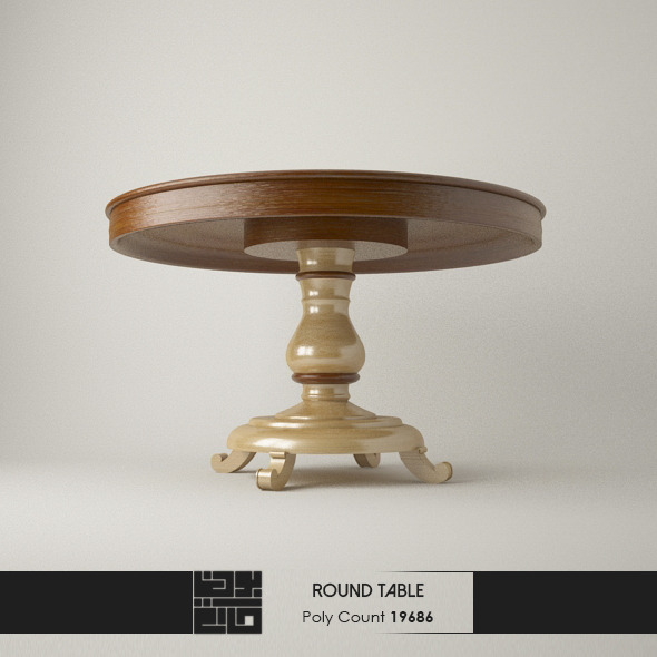 Realistic Modern Round Table  - 3DOcean Item for Sale